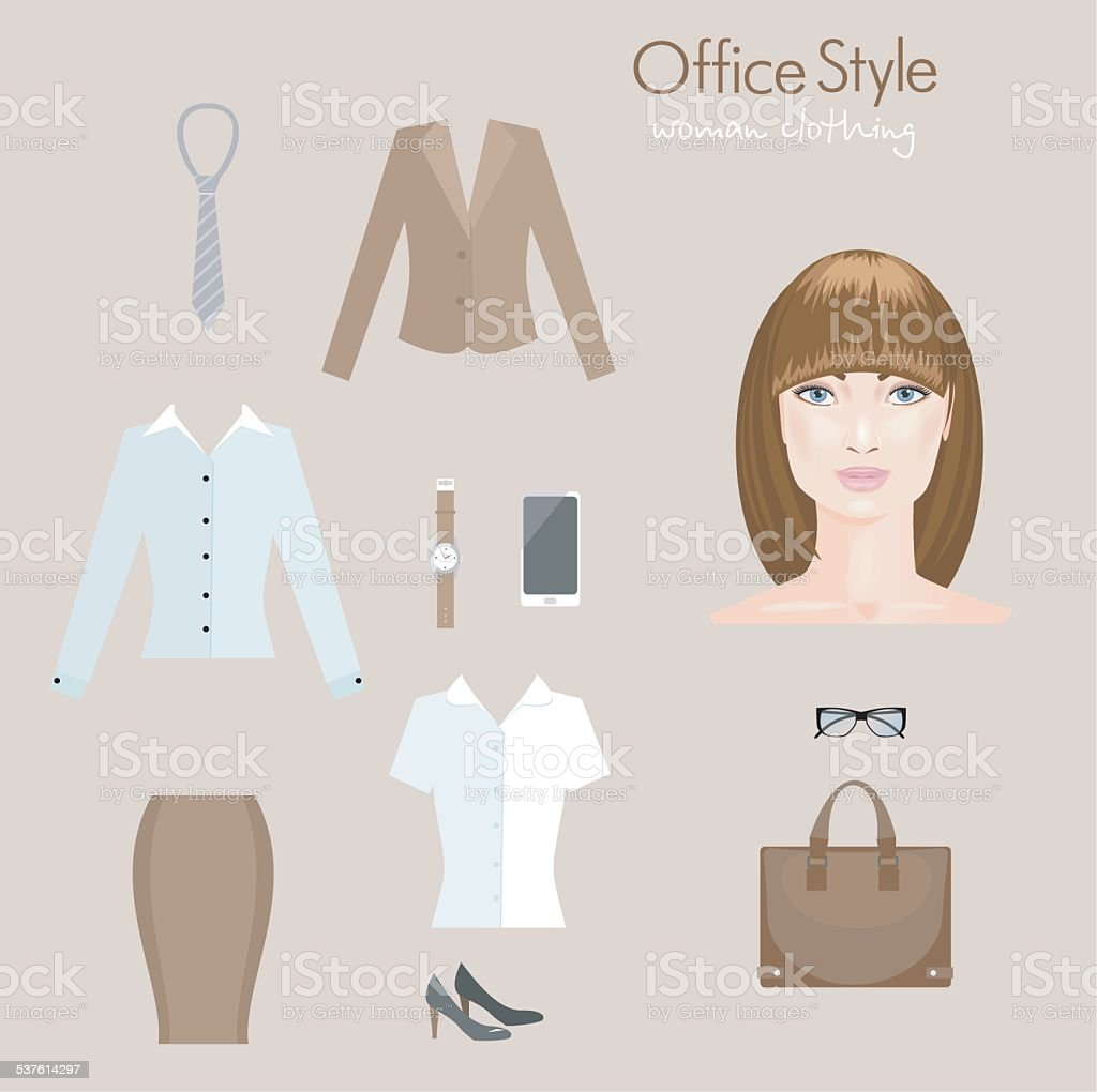 Woman office clothing. Infographics vector art illustration