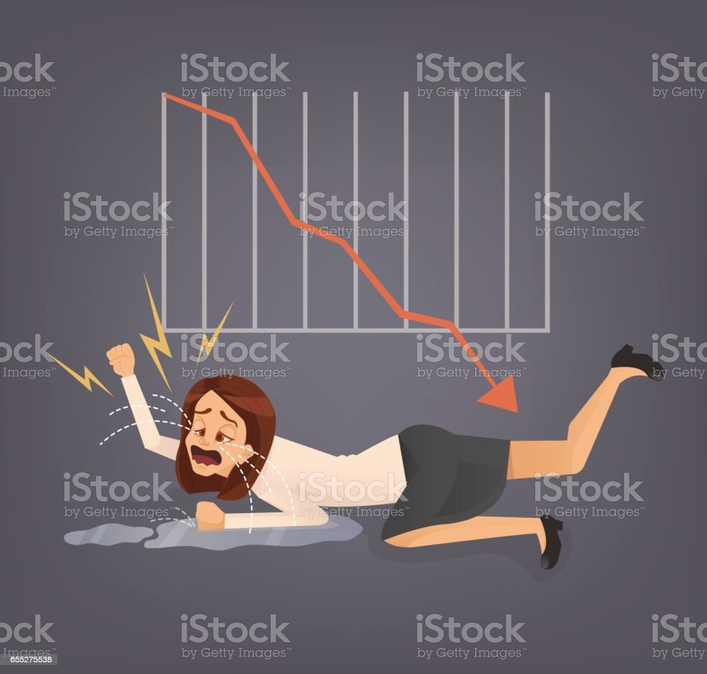 Woman office worker character cry vector art illustration
