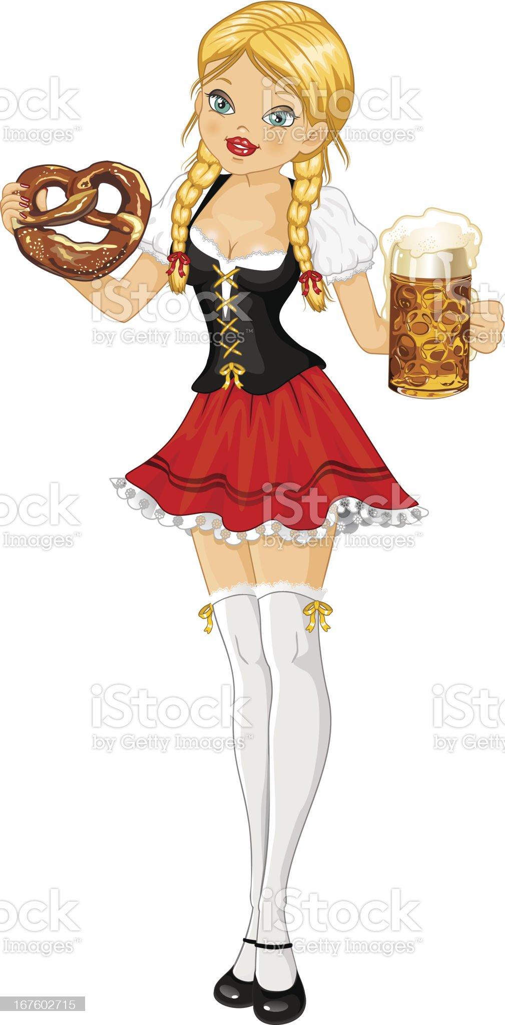 Woman oktoberfest beer and pretzel royalty-free stock vector art