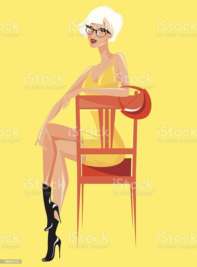 Woman on a chair. vector art illustration