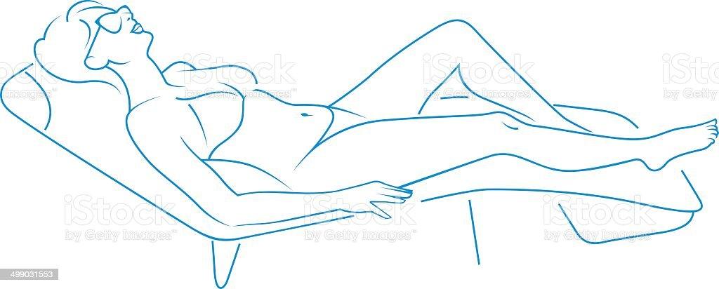 Woman on a deckchair. royalty-free stock vector art
