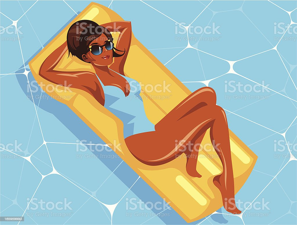 Woman on an air bed. vector art illustration