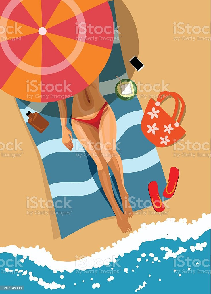 Woman on beach. Top view. Vector illustration vector art illustration
