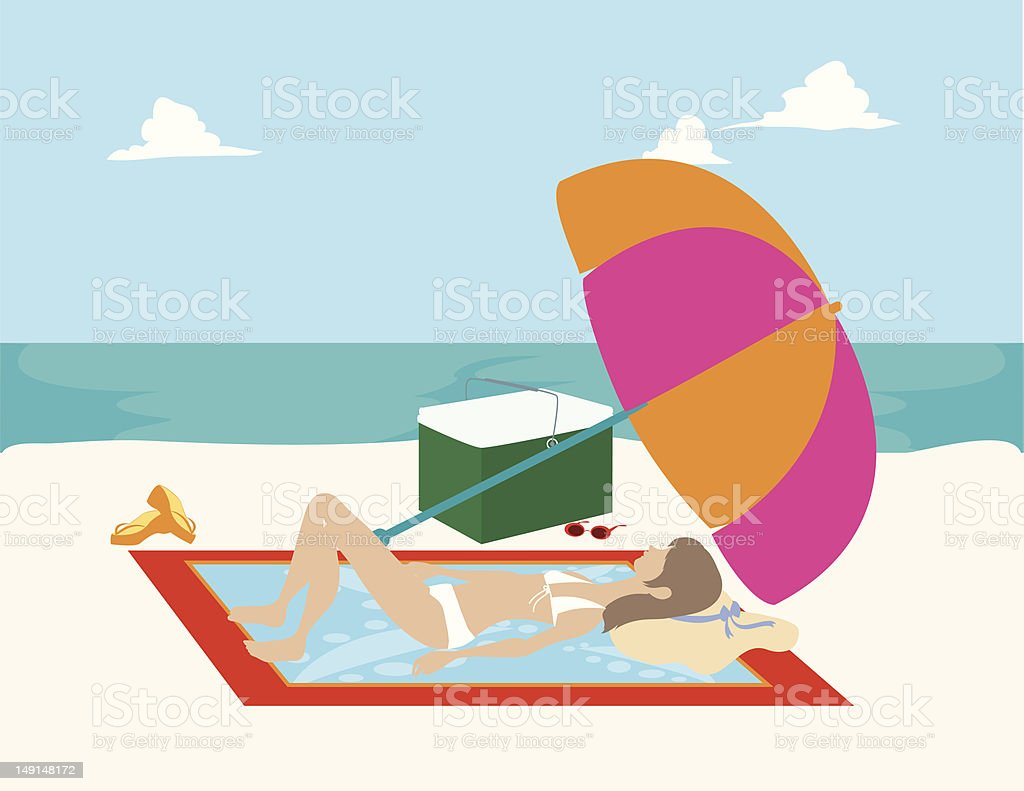Woman on Beach Towel royalty-free stock vector art
