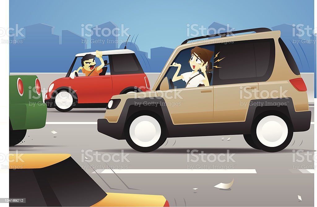Woman on Cell Phone While Driving royalty-free stock vector art