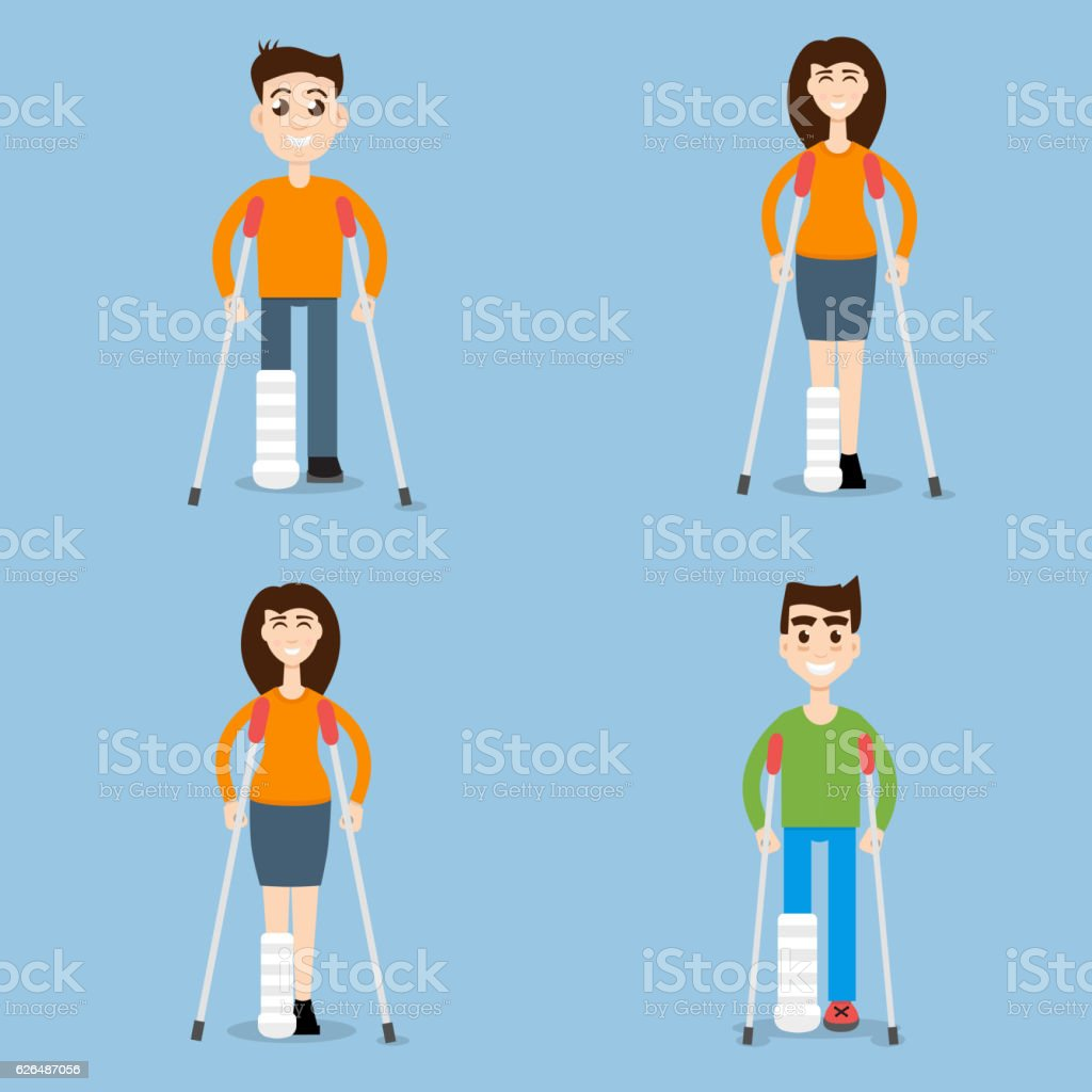 Woman On Crutches, Man On Crutches set character vector art illustration