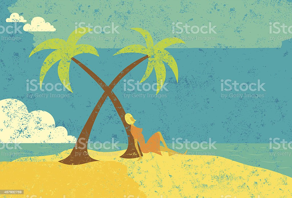 woman on desert island royalty-free stock vector art