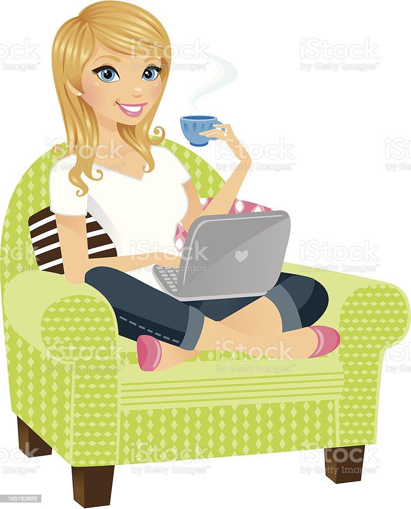 Woman on Laptop vector art illustration