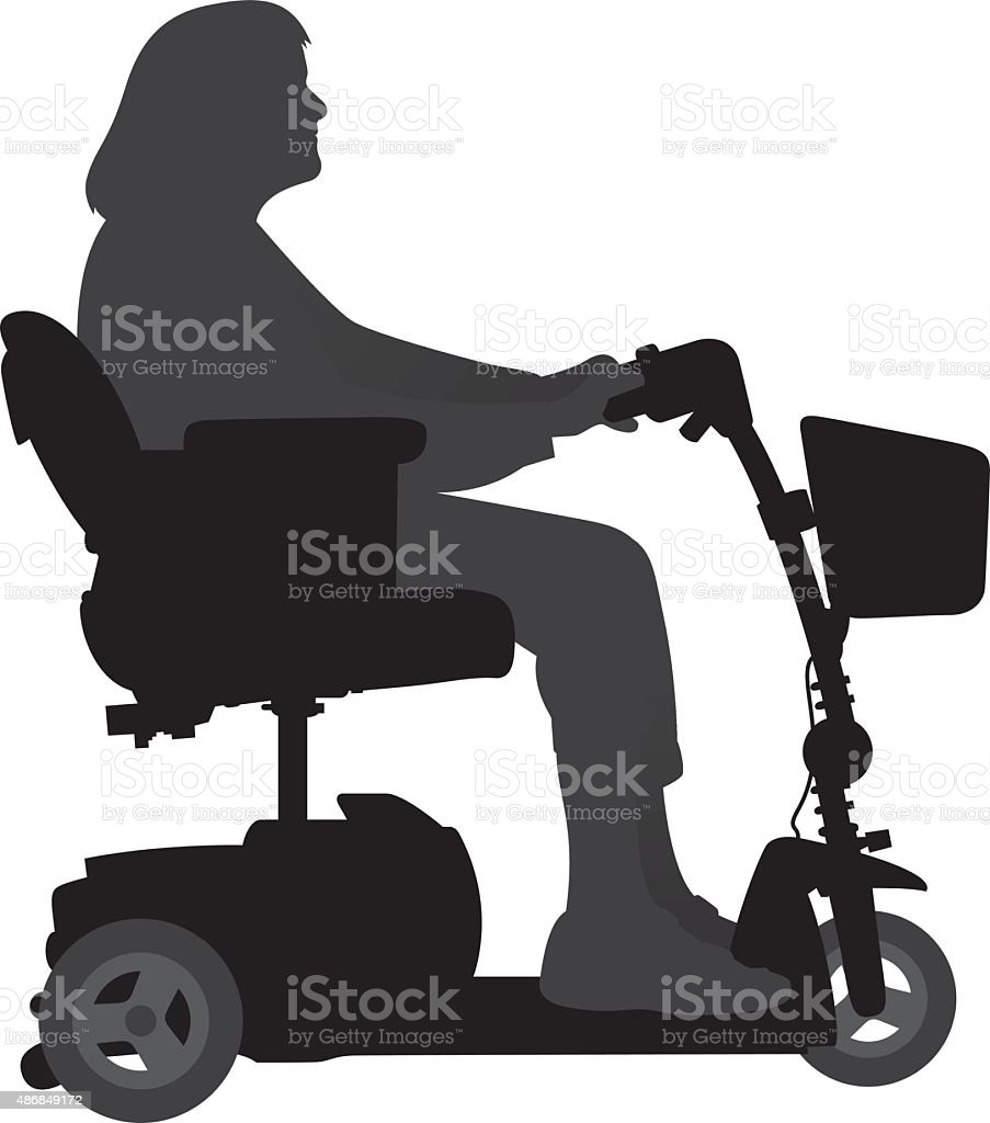 Woman on Motorized Scooter vector art illustration
