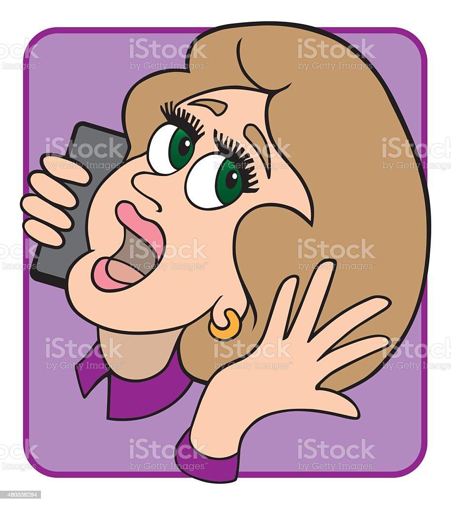 Woman on Phone vector art illustration