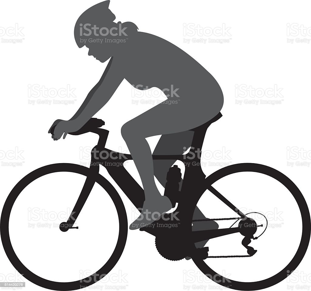 Woman on Racing Bicycle Silhouette vector art illustration
