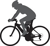 Woman on Racing Bicycle Silhouette
