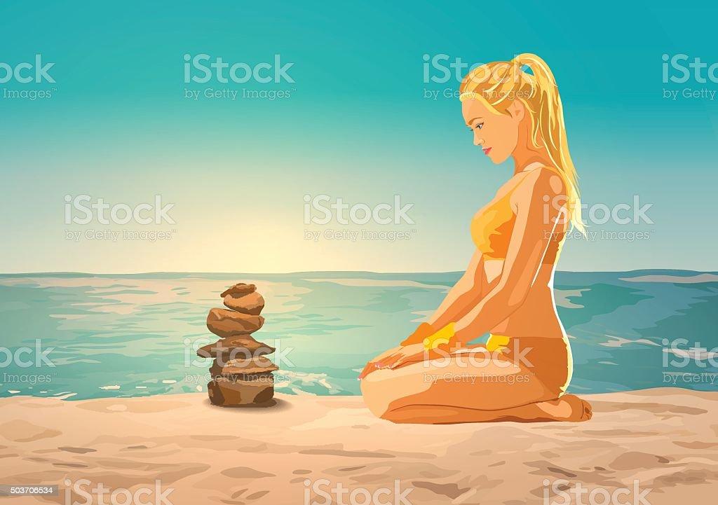 Woman on sea beach vector art illustration