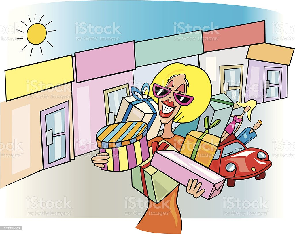 woman on shopping royalty-free stock vector art