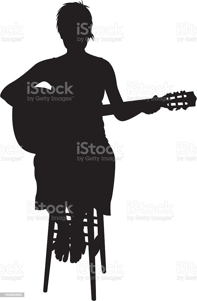 Woman on Stool with Guitar royalty-free stock vector art