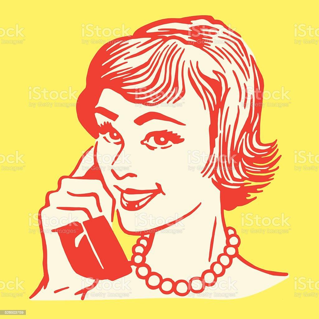 Woman on the Telephone vector art illustration