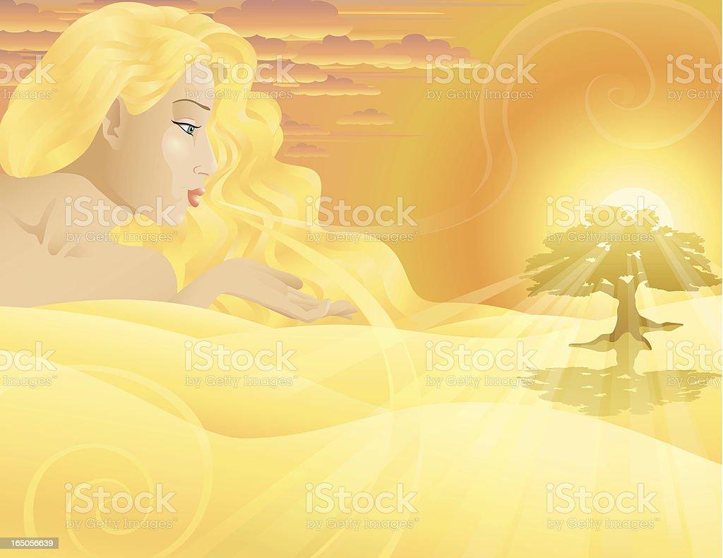 Woman or goddess at dawn royalty-free stock vector art