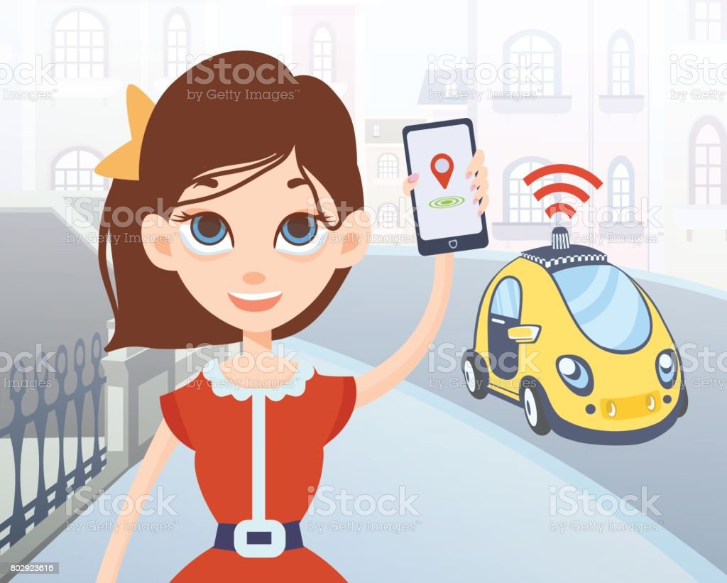 Woman ordering driverless taxi using mobile application. Cartoon female character with smartphone and car on city street background. Vector illustration. vector art illustration