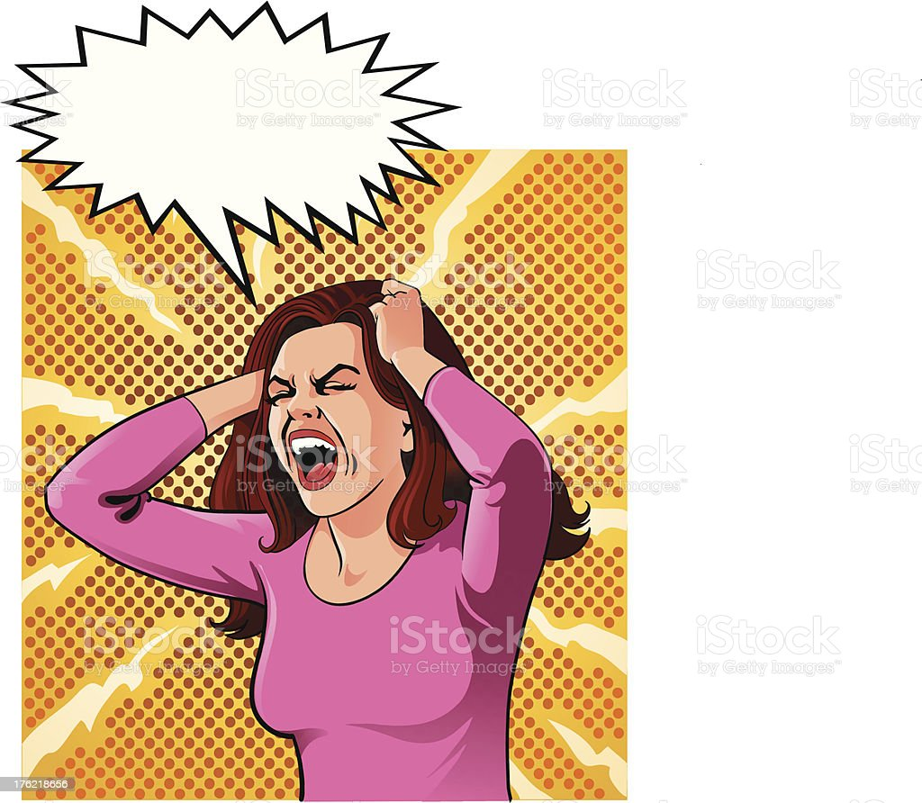 Woman out of Control royalty-free stock vector art