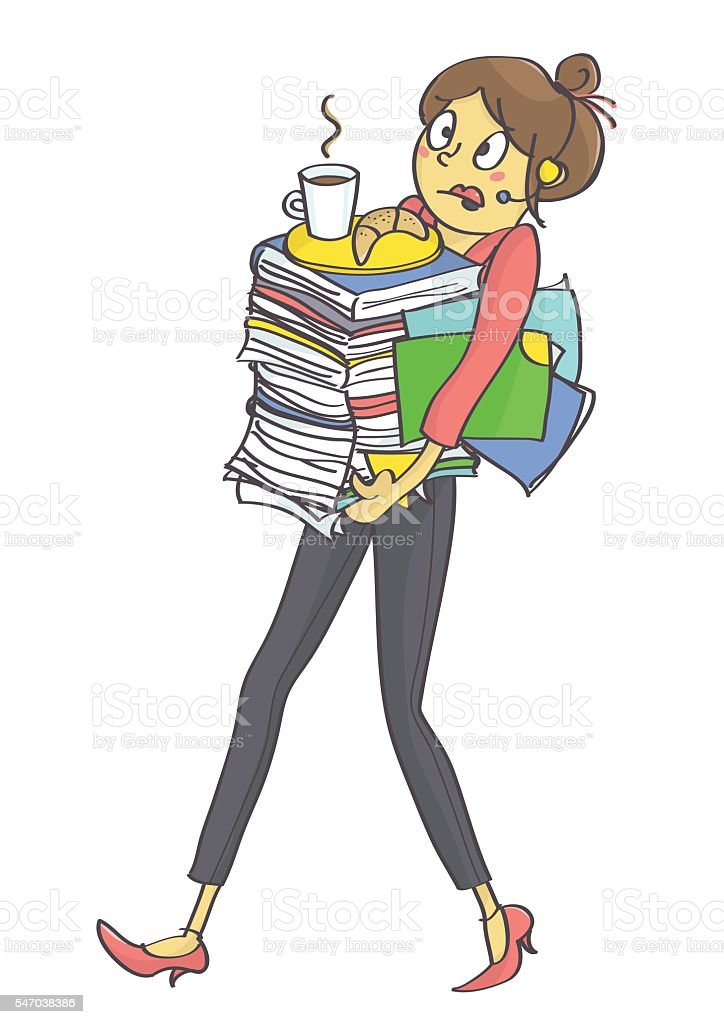 Woman overloaded with office tasks and work vector art illustration