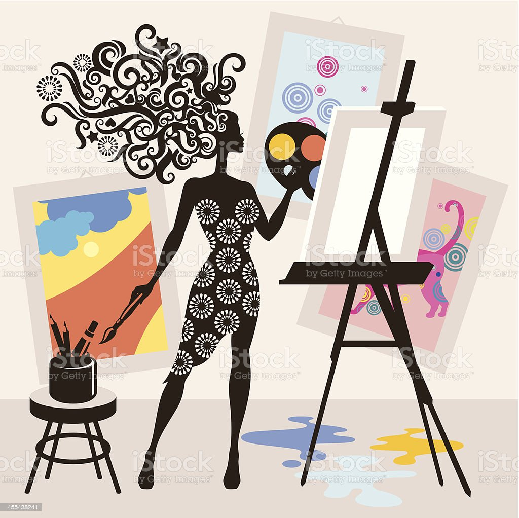 Woman painting. royalty-free stock vector art