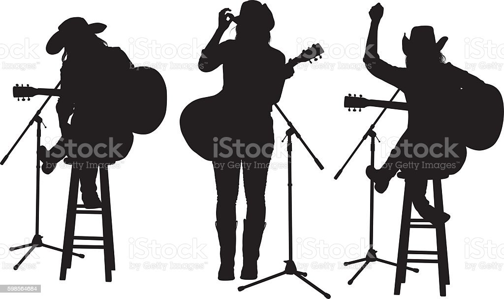 Woman playing guitar vector art illustration