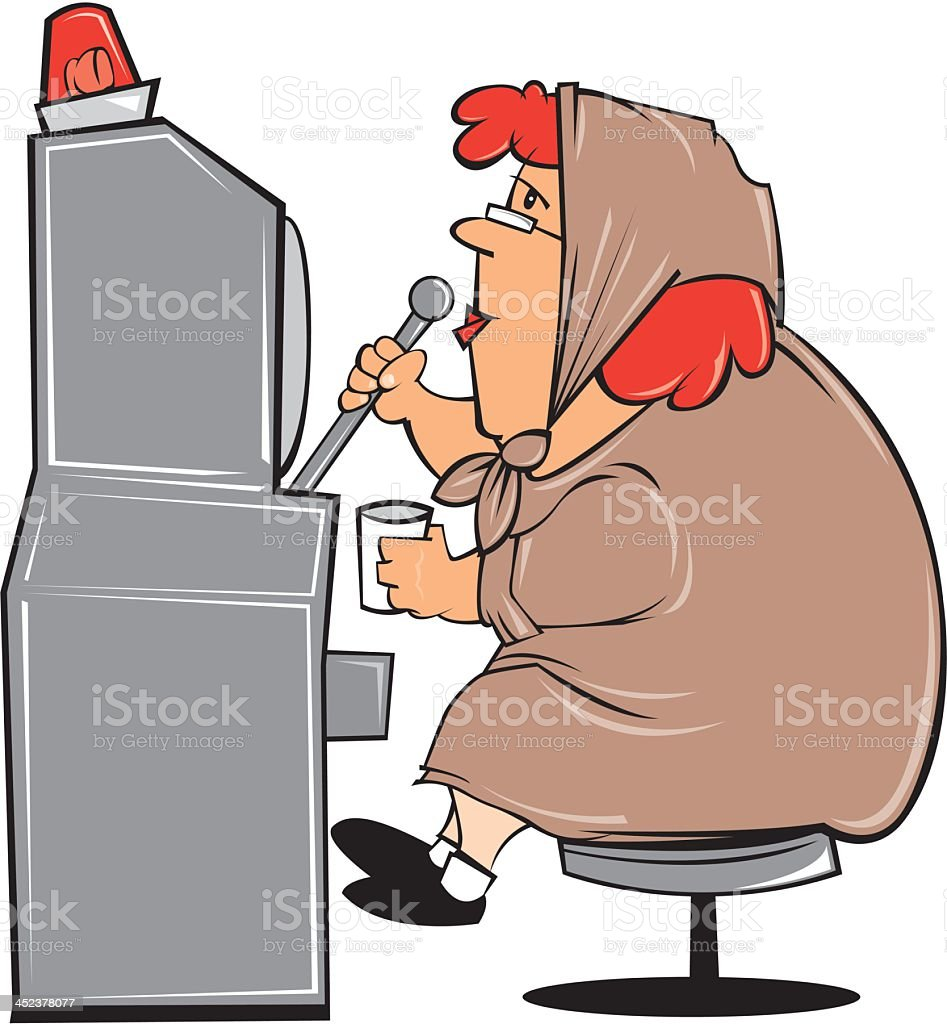 Woman Playing Slot Machine royalty-free stock vector art
