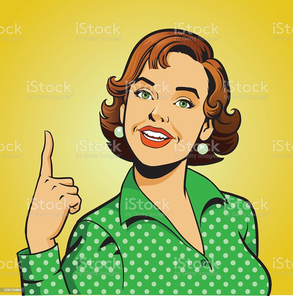Woman Pointing Her Finger Up - Retro Style Gesture vector art illustration