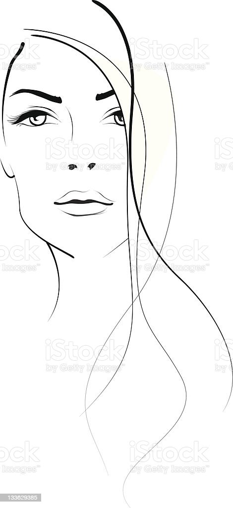 woman portrait vector art illustration