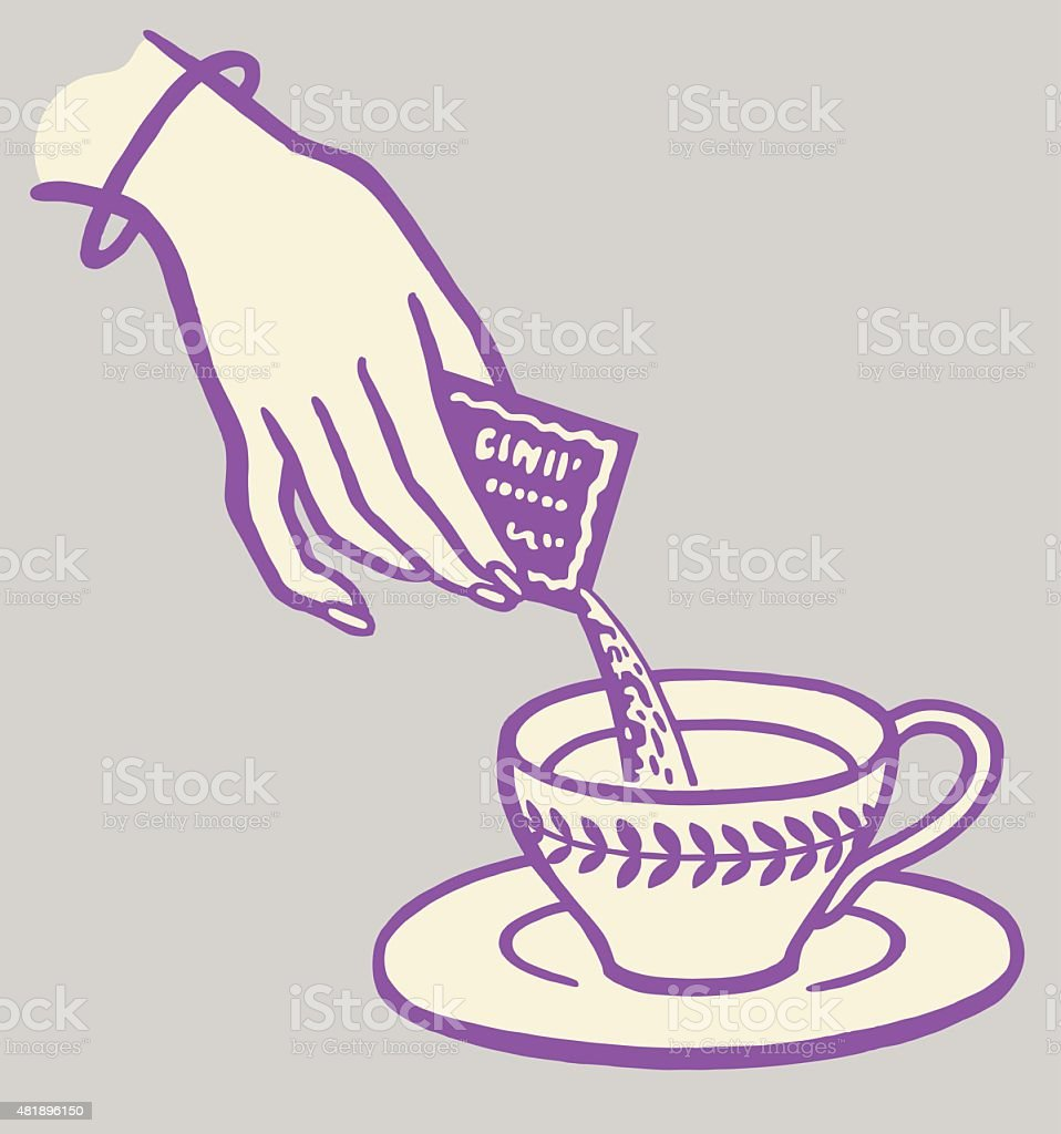 Woman Pouring Packet into Cup vector art illustration
