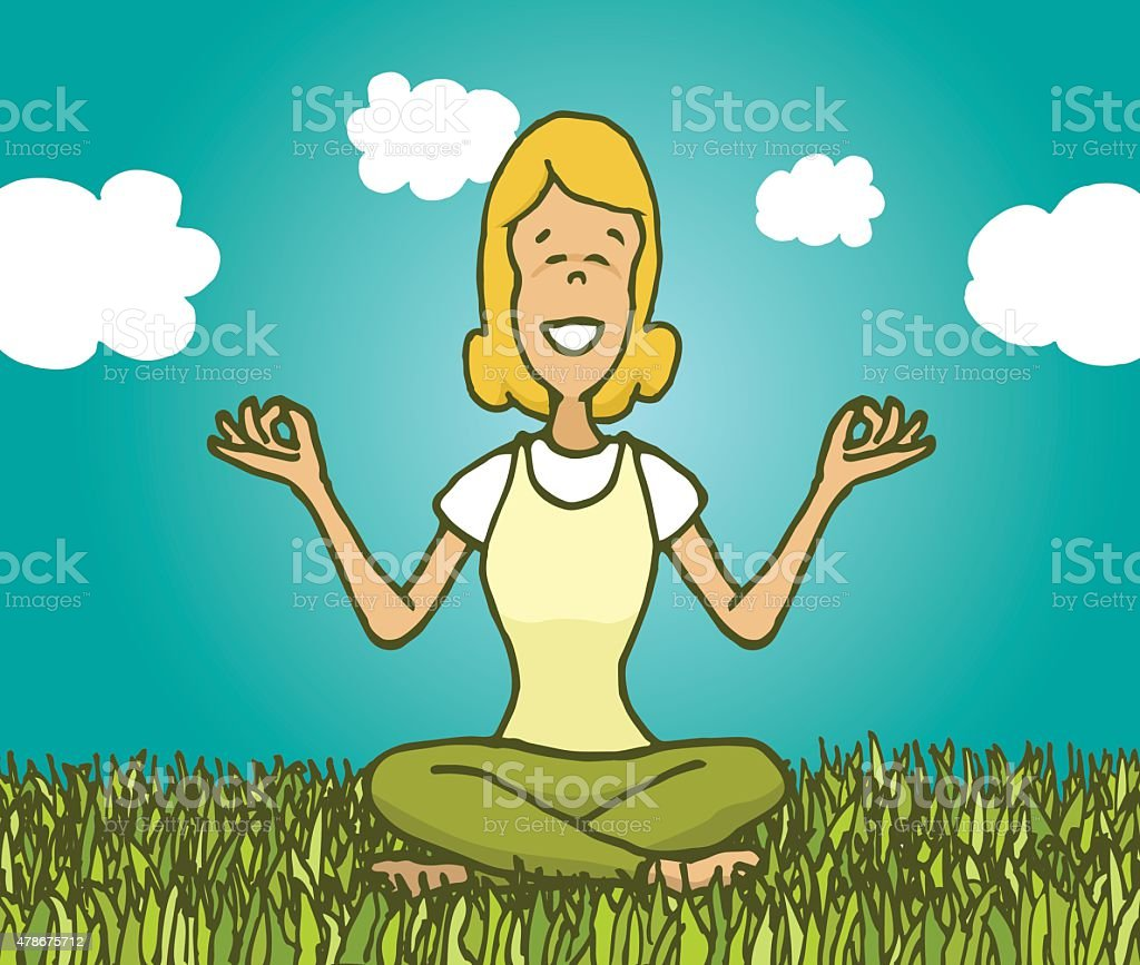 Woman practicing yoga outdoors getting in touch with nature vector art illustration