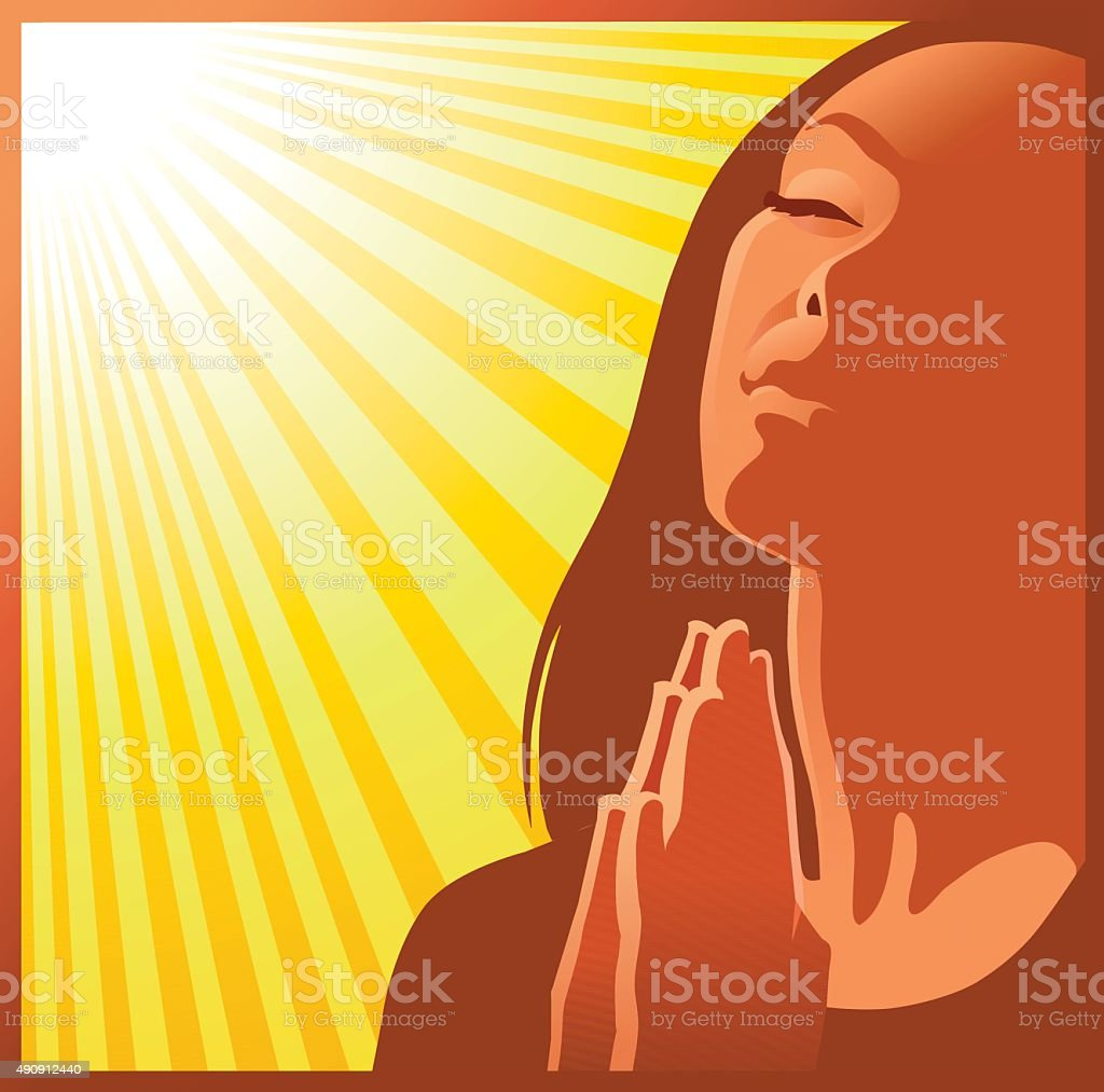 Woman Praying in Close Up - Rays Background vector art illustration