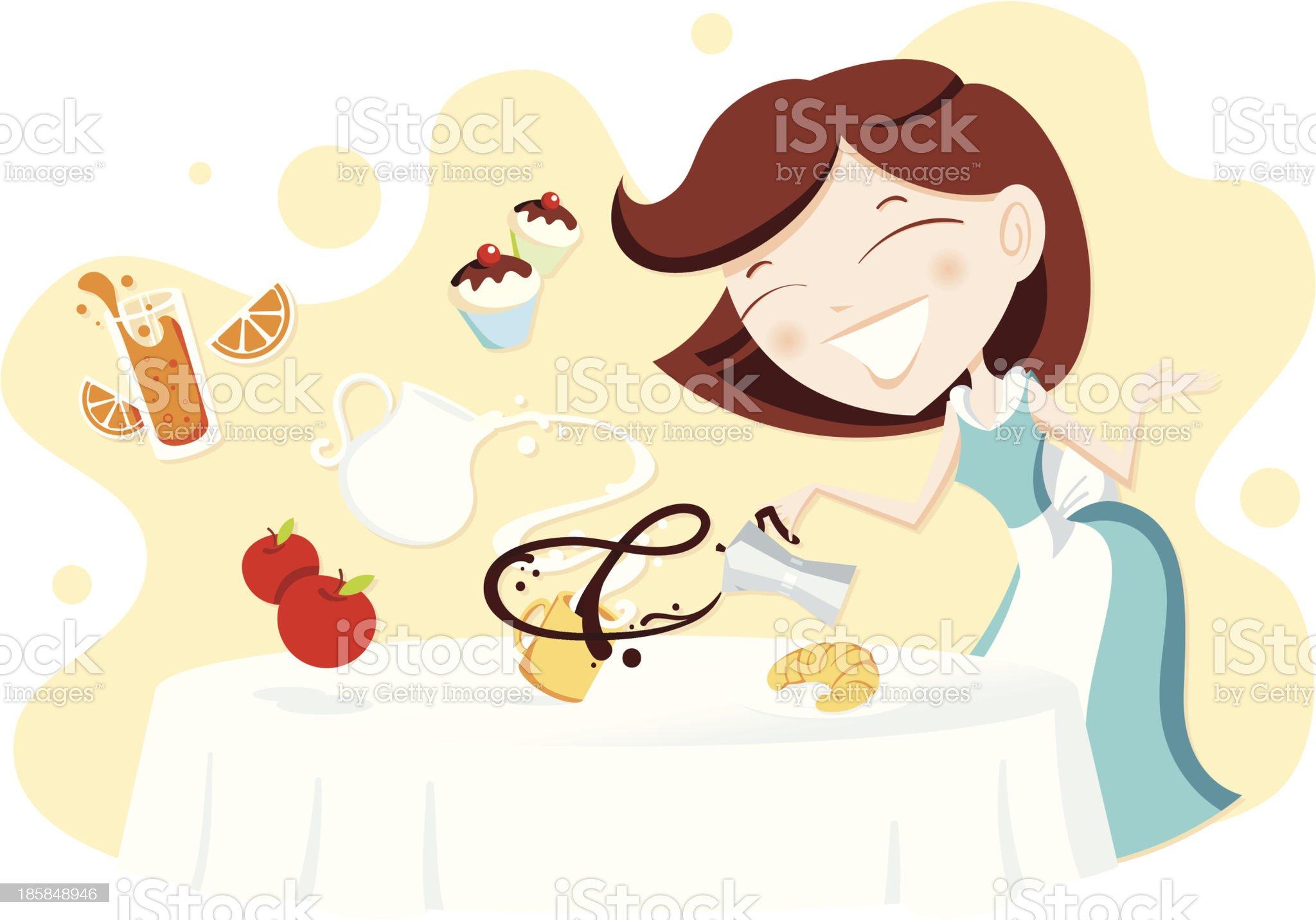 Woman preparing breakfast royalty-free stock vector art