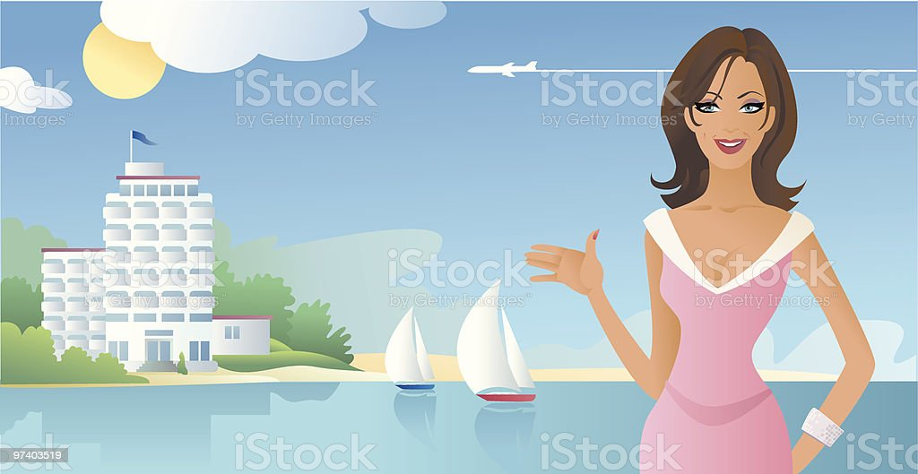 Woman Presenting Beach Front Hotel with Sailboats royalty-free stock vector art