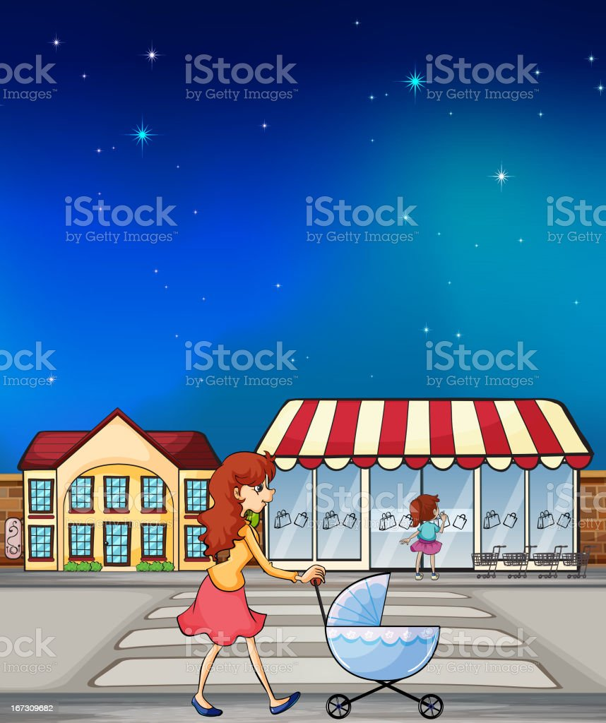 Woman pushing a stroller royalty-free stock vector art