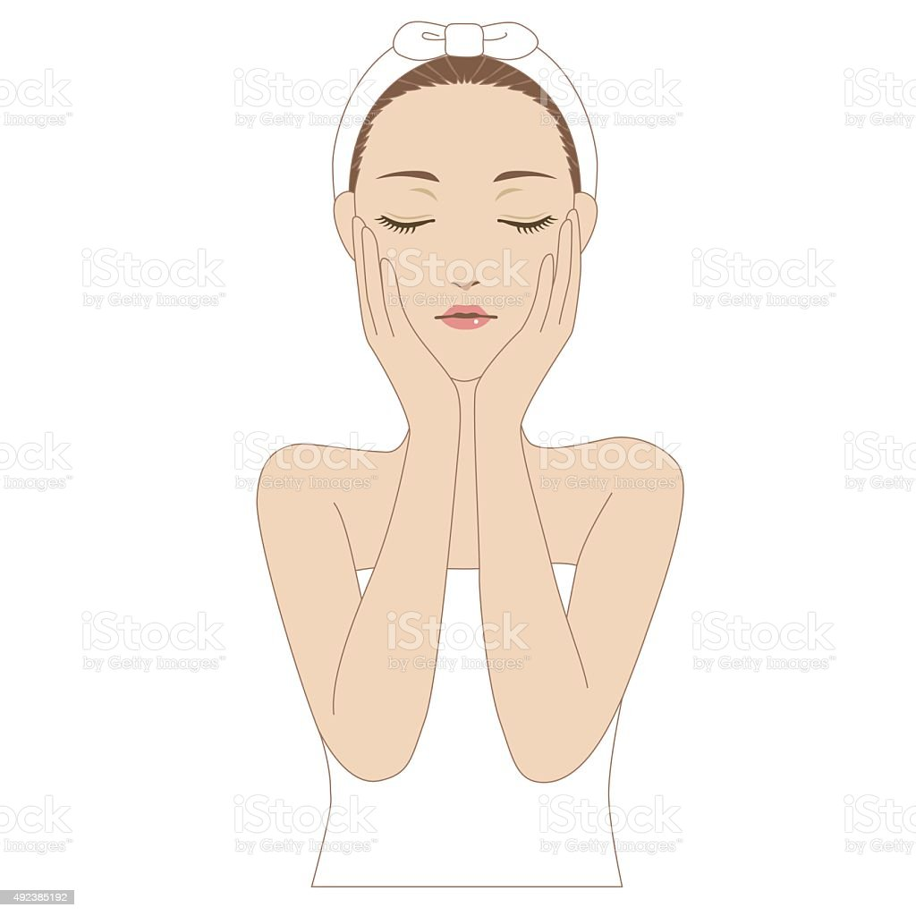 Woman putting her hands on the cheek vector art illustration