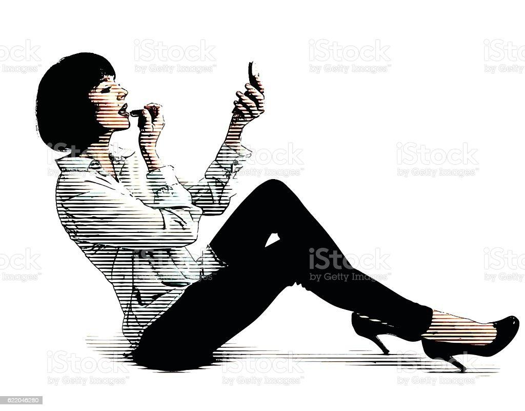 Woman Putting Lipstick on lips vector art illustration