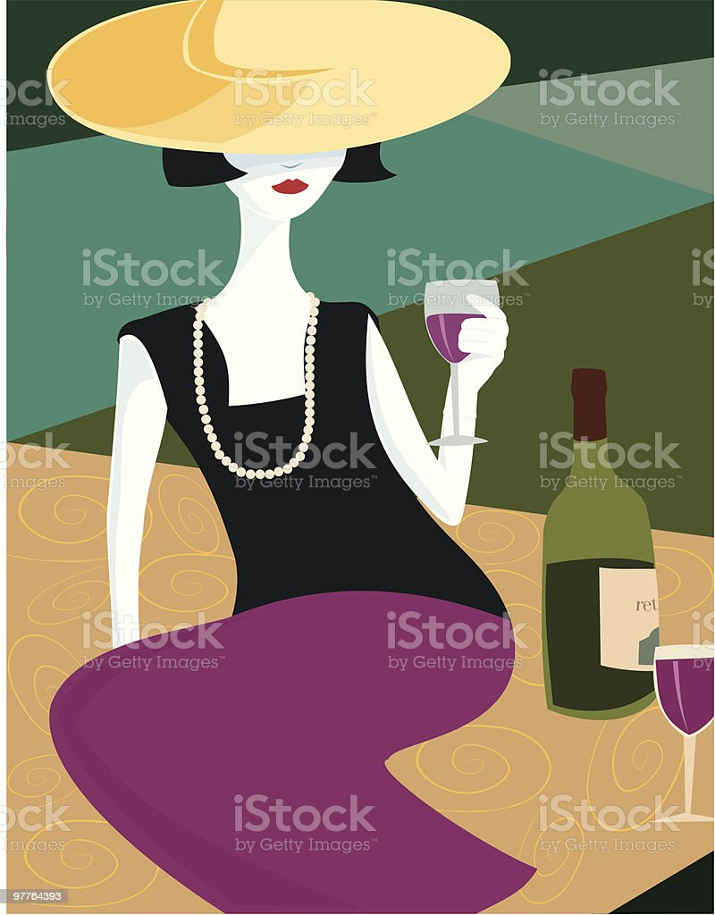 Woman & Red Wine royalty-free stock vector art
