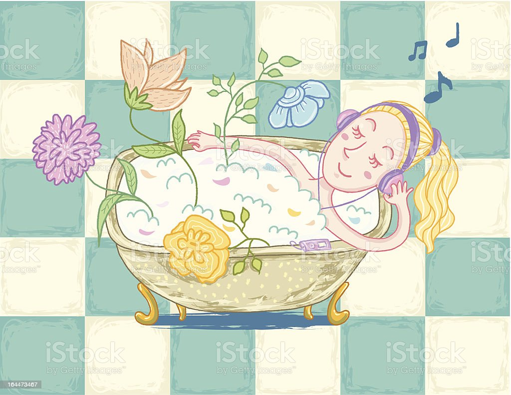 Woman relaxing in bath royalty-free stock vector art
