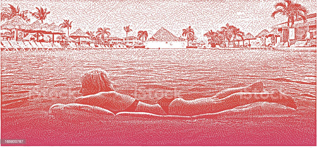 Woman Relaxing In Resort Infinity Pool vector art illustration