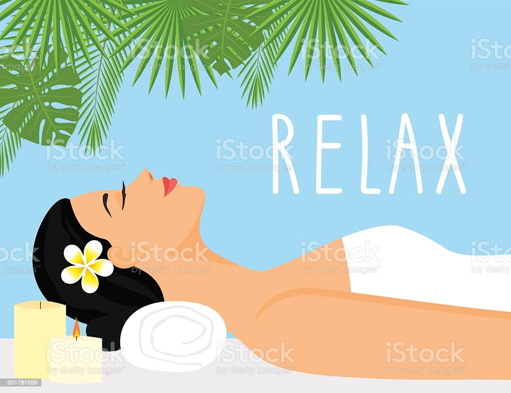 woman relaxing in wellness and spa salon. vector art illustration