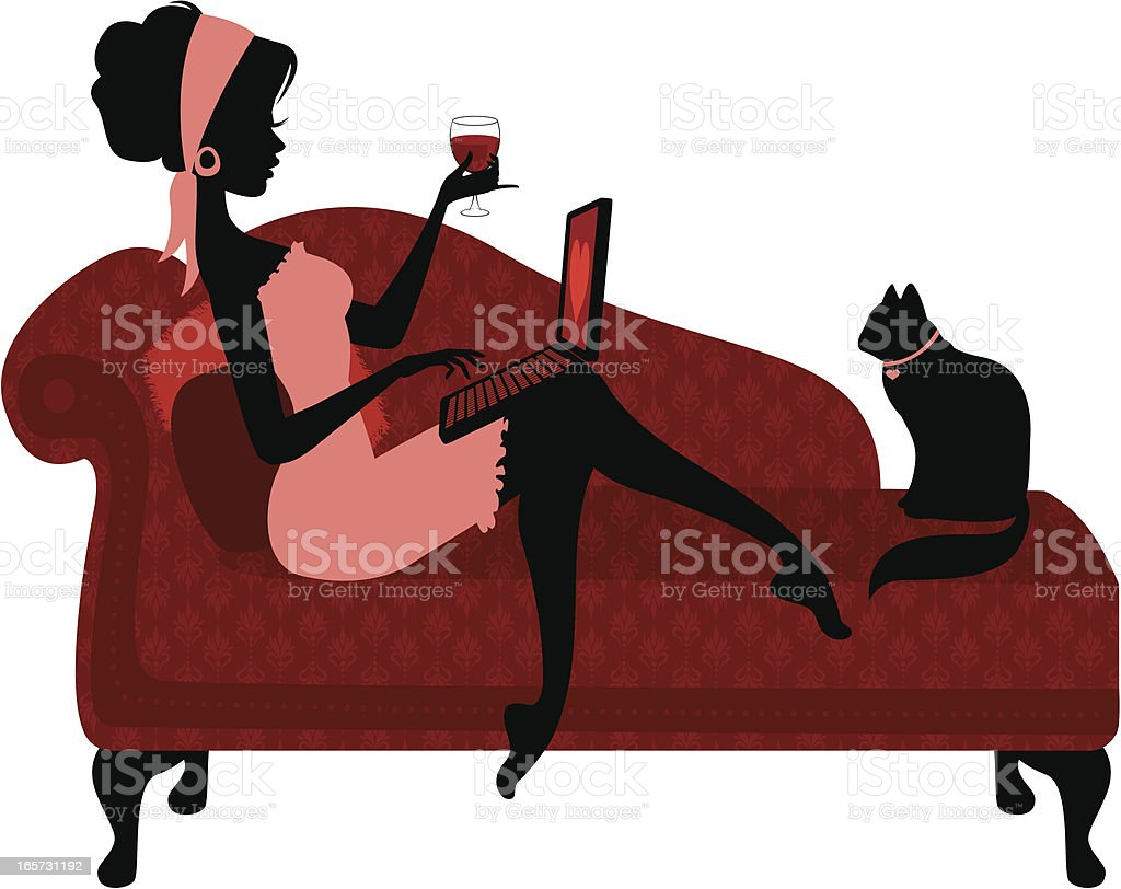 Woman Relaxing with Laptop vector art illustration