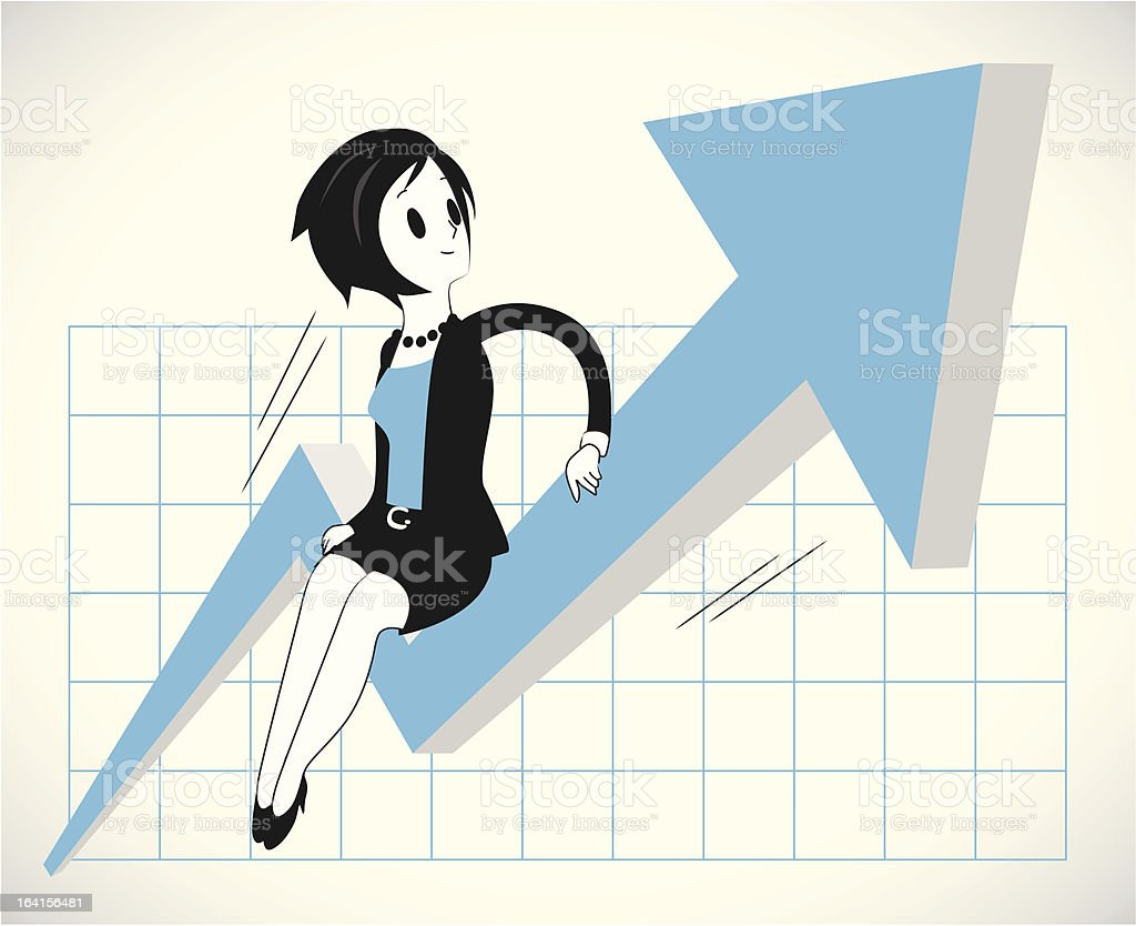 Woman riding growth graph royalty-free stock vector art