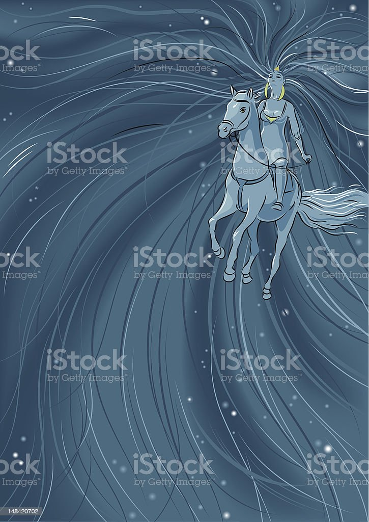 Woman riding horse royalty-free stock vector art