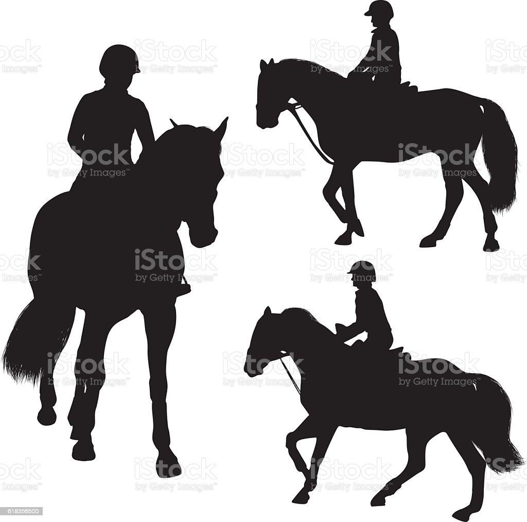 Woman riding horse vector art illustration