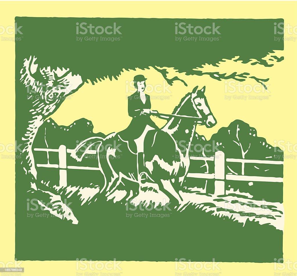 Woman Riding Horseback royalty-free stock vector art