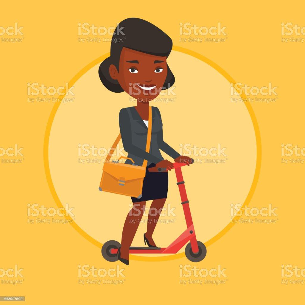 Woman riding kick scooter vector illustration vector art illustration