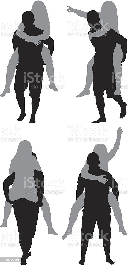 Woman riding piggyback on a man's shoulders vector art illustration