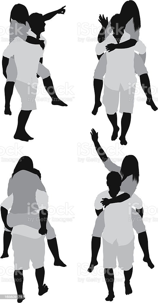Woman riding piggyback on a man's shoulders royalty-free stock vector art
