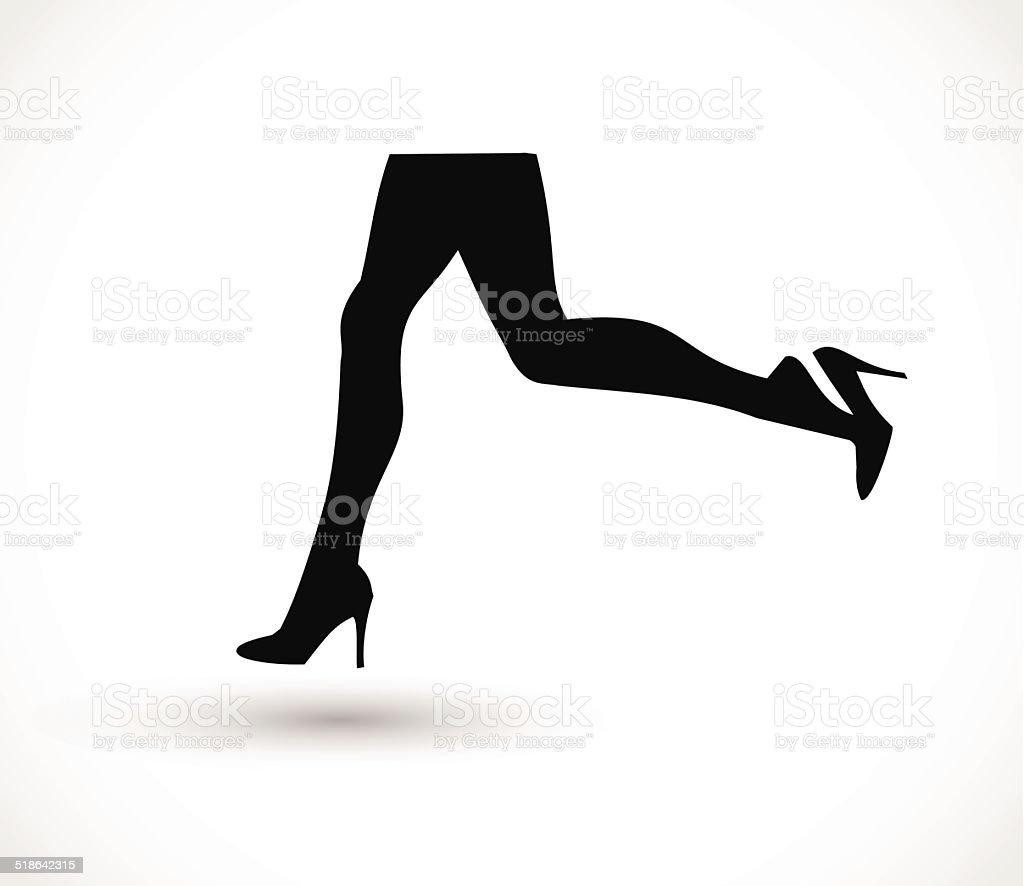 Woman running in high heels vector vector art illustration